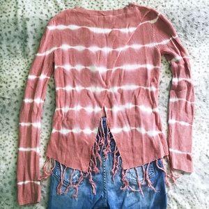 Striped Tie Dye Open Back Fringe Sweater
